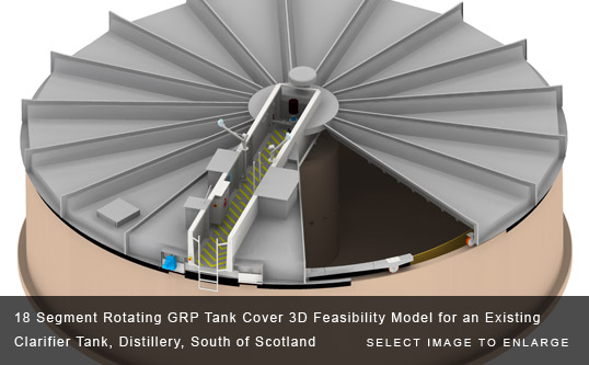 18 Segment Rotating GRP Tank Cover 3D Feasibility Model for an Existing Clarifier Tank, Distillery, South of Scotland