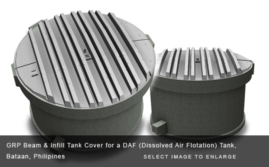 GRP Beam & Infill Tank Cover for a DAF (Dissolved Air Flotation) Tank, Bataan, Philipines