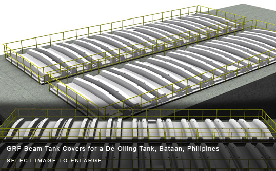 GRP Beam Tank Covers for a De-Oiling Tank, Bataan, Philipines