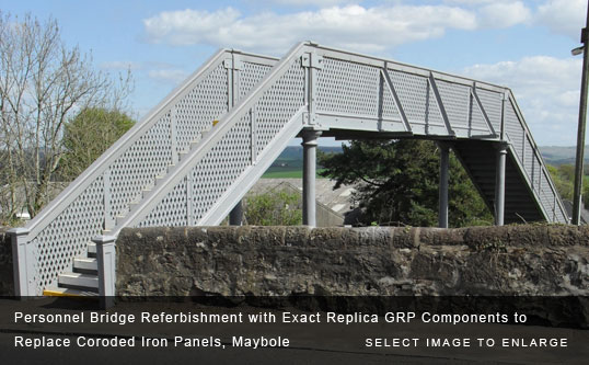 Personnel Bridge Referbishment with Exact Replica GRP Components to Replace Coroded Iron Panels, Maybole
