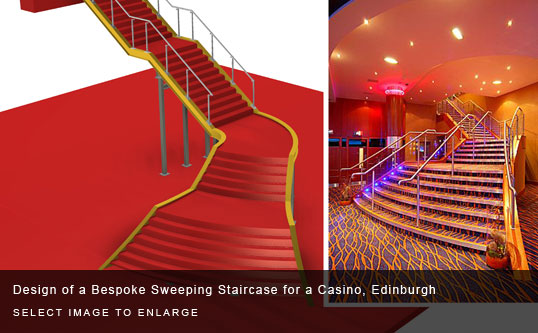Design of a Bespoke Sweeping Staircase for a Casino, Edinburgh