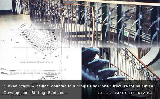 Curved Stairs & Railing Mounted to a Single Backbone Structure for an Office Development, Stirling, Scotland