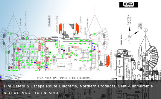 Fire Safety & Escape Route Diagrams, Northern Producer, Semi-Submersible