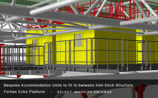 Bespoke Accommodation Units to fit In-between Heli-Deck Structure, Forties Echo Platform