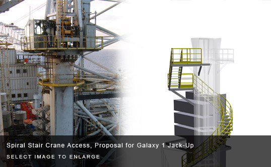 Spiral Stair Crane Access, Proposal for Galaxy 1 Jack-Up