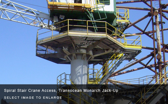 Spiral Stair Crane Access, Transocean Monarch Jack-Up