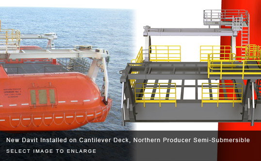 New Davit Installed on Cantilever Deck, Northern Producer Semi-Submersible
