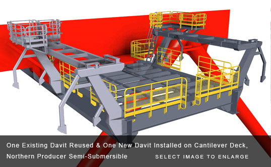 One Existing Davit Reused & One New Davit Installed on Cantilever Deck, Northern Producer Semi-Submersible