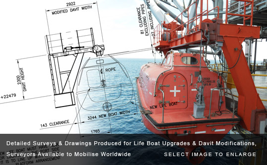 Detailed Surveys & Drawings Produced for Life Boat Upgrades & Davit Modifications, Surveyors Available to Mobilise Worldwide