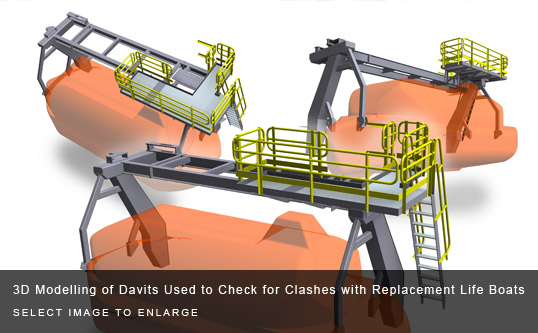 3D Modelling of Davits Used to Check for Clashes with Replacement Life Boats