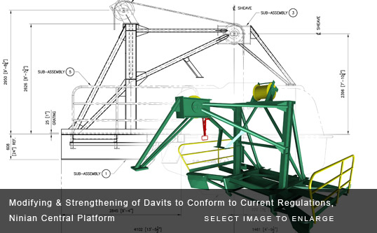 Modifying & Strengthening of Davits to Conform to Current Regulations, Ninian Central Platform